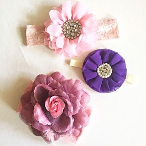 Set of 3 Girls Jumbo Flower Headbands